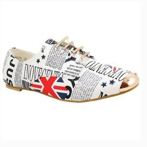 NEW Bonabella Great Britain Flag Oxford Flat White